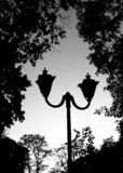 Old styled lamp post from 19th century in city park. Black and white stock photo