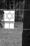 Old styled photo of Jewish symbols in Stutthof. Dramatic scenery of concentration camp Stutthof in Poland Royalty Free Stock Image