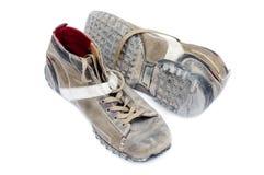 Old stylish boots. Old shabby stylish boots on white Stock Photo