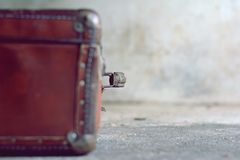 Old stylish brown suitcase with retro effect Royalty Free Stock Photography