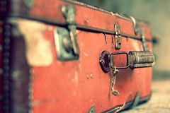 Old stylish brown suitcase with retro effect Stock Image