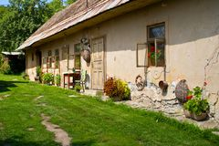 Old stylish cottage house in Slovakian Stock Photography