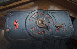 Old stylish tram interior detail. PUERTO SOLLER, MALLORCA, SPAIN - OCTOBER 2, 2016: Old stylish tram interior detail in red and black art nouveau style on a Royalty Free Stock Photography