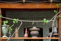 Old  subjects on terrace of house with vine grapes Stock Photos