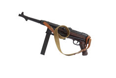 Old Submachine Gun. MP38 German submachine gun World War II era 1939-1945. Isolated on white with clipping path Royalty Free Stock Images