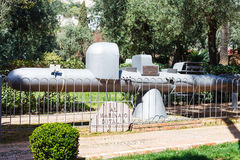Old submarine - monument in Taormina urban park Royalty Free Stock Photos