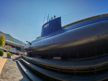 Old submarine in Porto Montenegro in Tivat city, Montenegro royalty free stock images