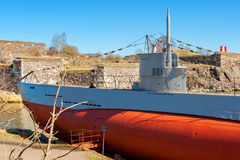 Old submarine. Suomenlinna island, Finland Stock Photo