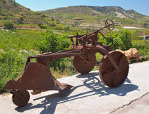 Old subsoil plows. Omodos, Cyprus, Winery Ktima Gerolemo Winery & Vineyards in the Troodos Mountains, old subsoil plows Stock Image