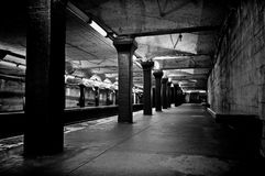 Old subway. Black and white monochrome image of old decaying subway station in boston massachusetts Royalty Free Stock Photo