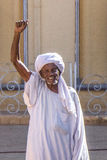 Old Sudanese man cheering. Stock Images