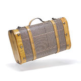 Old suitcase. Classic suitcase in flying action Royalty Free Stock Images