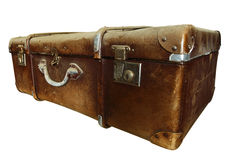 Old suitcase. Dirty and old suitcase on white background Royalty Free Stock Images
