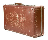 Old suitcase. Worn-out old suitcase on white background Royalty Free Stock Photo