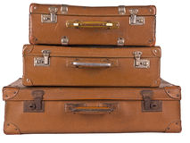 Old suitcase. Stack of three antique suitcases Stock Image
