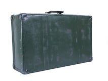 Old suitcase. Well-traveled retro suitcase on white Royalty Free Stock Images