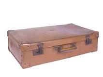 Old suitcase. Well-traveled retro suitcase on white Royalty Free Stock Photo