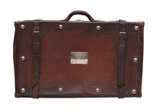 Old suitcase. An old retro-styled suitcase from brown leather Royalty Free Stock Photos
