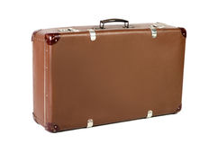 Old suitcase at an angle before white background Stock Photography