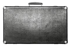Old suitcase of black color on a white background Stock Photo