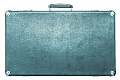 Old suitcase of blue color on a white background Royalty Free Stock Images