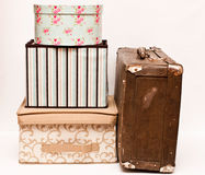 Old  suitcase with boxes Royalty Free Stock Photo
