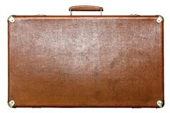 Old suitcase of brown color on a white background Royalty Free Stock Image