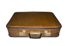 Old suitcase closed isolated. Vintage case. Retro handbag Royalty Free Stock Photos