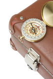 Old suitcase  and compass Stock Photo