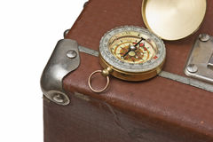 Old suitcase  and compass Royalty Free Stock Images
