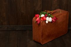 Old suitcase with flowers, symbol of victory in world war II with St. George`s ribbon, a dark wooden background, retro concept stock photography