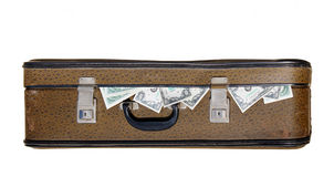 Old suitcase full of money Stock Image