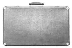 Old suitcase of gray color on a white background Royalty Free Stock Image