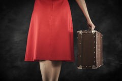 Old suitcase in hands Stock Photography