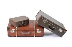 Old suitcase isolated on white background Royalty Free Stock Images