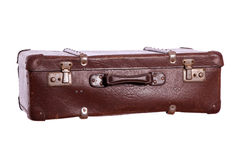 Old suitcase made of brown leather Royalty Free Stock Photo