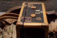 An old suitcase. And pile of stuff at holocaust museum in Washington, D.C Royalty Free Stock Image