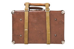 Old suitcase tied with a belt Stock Image