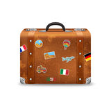 Old Suitcase With Travel Stickers Stock Images