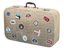 Old suitcase traveler isolated Stock Photography