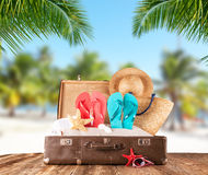 Old suitcase on tropical beach, travel concept Stock Images