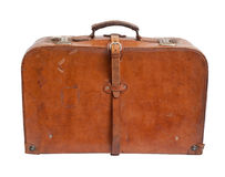 Old suitcase on white background. Stock Photos
