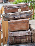 Old suitcases. / vintage luggage left or lost concept Stock Photos