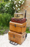 Old suitcases. / vintage luggage left or lost concept Stock Photography