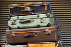 Old suitcases. Old style a suitcases outdoors Stock Images