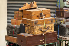 Old suitcases. Old style a suitcases outdoors Stock Photography