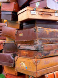 Old Suitcases. And bags in a pile Royalty Free Stock Image
