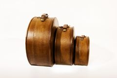 Old suitcases. Isolated shot of old suitcases of brown leather material royalty free stock images