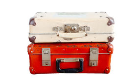 Old suitcases isolated Stock Images