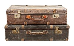 Old suitcases. Isolated on white background Stock Photo